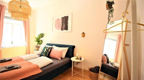 Botanical velvet apartment with sunny balcony