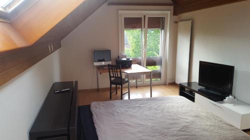 غرفة نوم في منزل فاخر في حي راقي بسويسرا