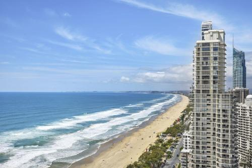 Focus Resort Oceanfront Apartments in Surfers with Ocean and Hinterland Views 25 steps to Beach